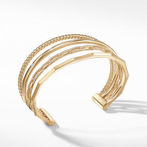Stax Medium Cuff Bracelet with Diamonds in 18K Gold alternative image