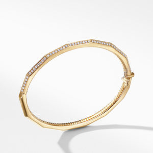 Stax Single Row Faceted Bracelet with Diamonds in 18K Gold