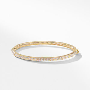 Stax Single Row Faceted Bracelet with Diamonds in 18K Gold alternative image
