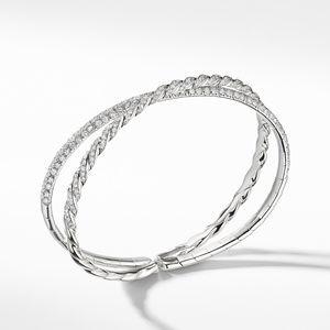 Pavéflex Two Row Bracelet with Diamonds in 18K White