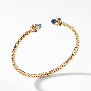 Renaissance Bracelet with Light Blue Sapphires in 18K Gold, 3.5mm