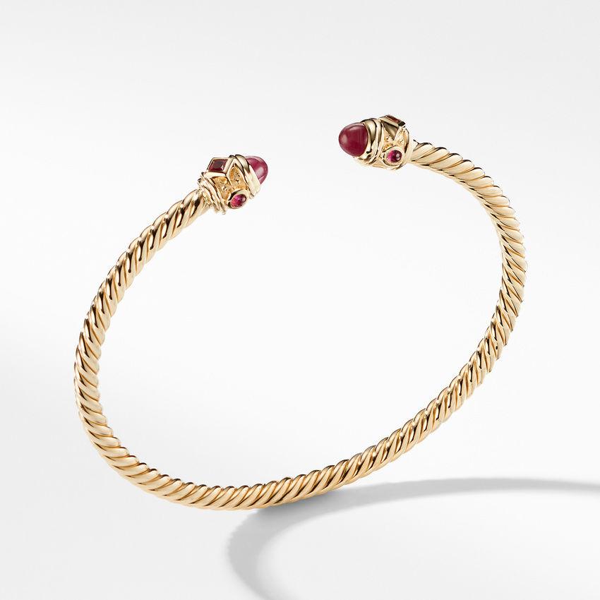 Renaissance Bracelet with Rubies in 18K Gold, 3.5mm