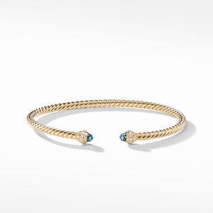 Cable Spira® Bracelet in 18K Gold with Hampton Blue Topaz and Diamonds alternative image