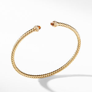 Cable Spira® Bracelet in 18K Gold with Madeira Citrine and Diamonds, 3mm
