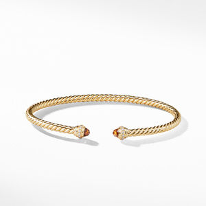 Cable Spira® Bracelet in 18K Gold with Madeira Citrine and Diamonds, 3mm alternative image