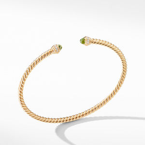 Cable Spira® Bracelet in 18K Gold with Peridot and Diamonds, 3mm