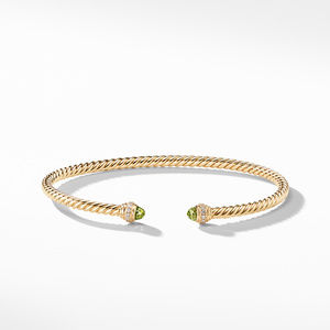 Cable Spira® Bracelet in 18K Gold with Peridot and Diamonds, 3mm alternative image