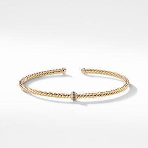 Renaissance Center Station Bracelet with Light Blue Sapphire in 18K Gold, 3mm alternative image