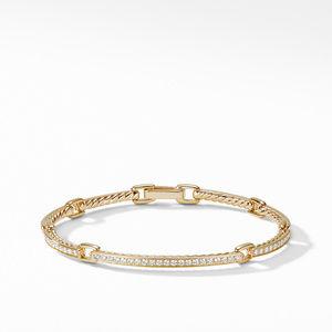 Petite Pavé Link Bracelet with Diamonds in 18K Gold