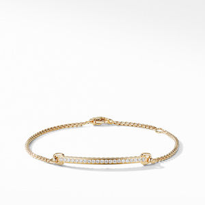 Petite Pavé Station Chain Bracelet with Diamonds in 18K Gold