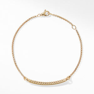 Petite Pavé Station Chain Bracelet with Diamonds in 18K Gold alternative image