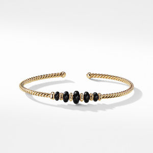 Rio Rondelle Cabled Cuff Bracelet with Black Onyx in 18K Gold alternative image