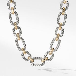 Cushion Link Necklace with Blue Sapphires and 18K Gold