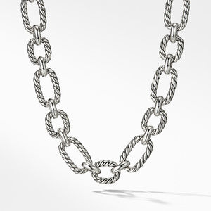 Cushion Link Necklace with Blue Sapphires