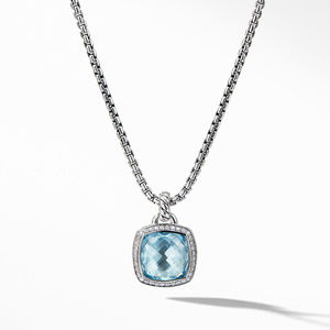 Pendant with Blue Topaz and Diamonds