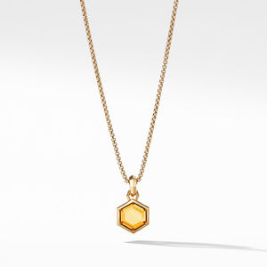 Hexagon Cut Amulet with Citrine in 18k Gold