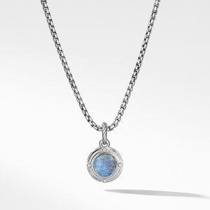 Moon Amulet in Rainbow Moonstone with Diamonds