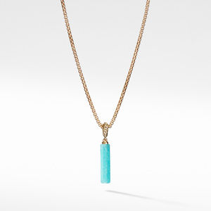 Barrel Charm in Amazonite with 18K Gold
