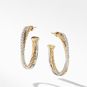 Medium 3mm Pave Crossover Earrings in 18k Yellow Gold with Diamonds