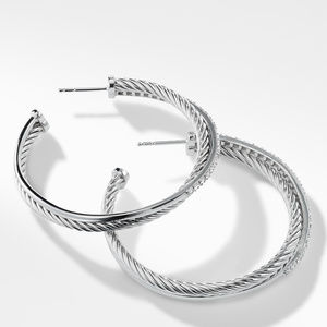 Crossover Extra-Large Hoop Earrings with Diamonds alternative image