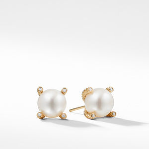 Pearl Earrings with Diamonds in Gold
