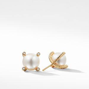 Pearl Earrings with Diamonds in Gold alternative image