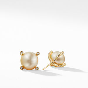South Sea Golden Pearl Earrings with Diamonds in 18K Gold alternative image
