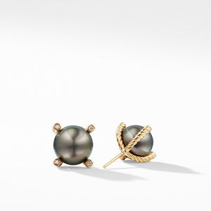 Tahitian Grey Pearl Earrings with Diamonds in 18K Gold alternative image