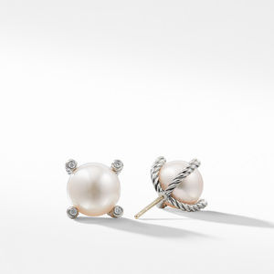 Pearl Earrings with Diamonds alternative image