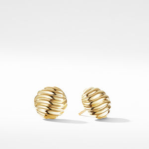 Sculpted Cable Earrings in Gold