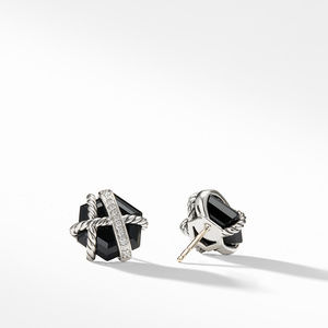 Cable Wrap Earrings with Black Onyx and Diamonds alternative image