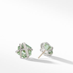 Cable Wrap Earrings with Prasiolite and Diamonds alternative image