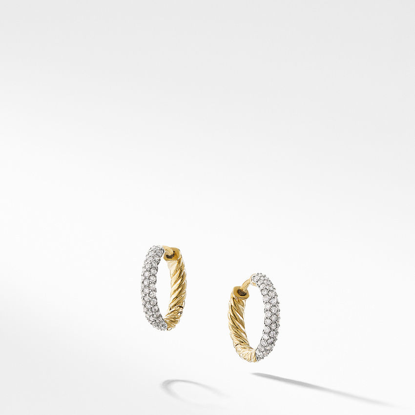 Petite Pave Earrings with Diamonds in 18K Gold