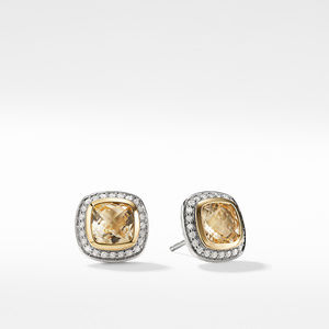 Earrings with Champgane Citrine and Diamonds with 18K Gold