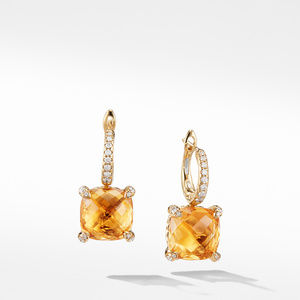 Drop Earrings with Citrine and Diamonds in 18K Gold