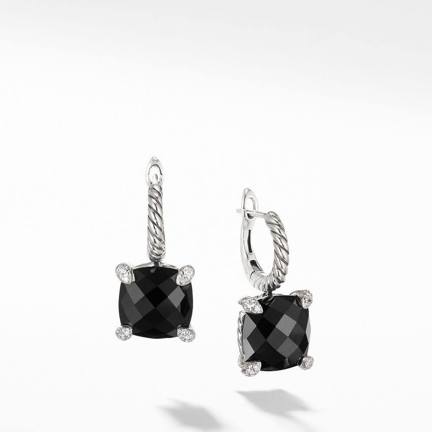 Chatelaine® Drop Earrings with Black Onyx and Diamonds