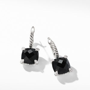 Chatelaine® Drop Earrings with Black Onyx and Diamonds alternative image