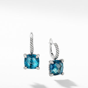 Drop Earrings with Hampton Blue Topaz and Diamonds
