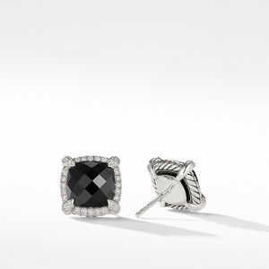 Chatelaine® Pavé Bezel Earring with Black Onyx and Diamonds mm alternative image