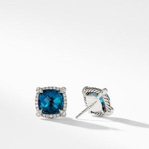 Chatelaine Pave Bezel Stud Earring with Hampton Blue Topaz and Diamonds, 9mm alternative image