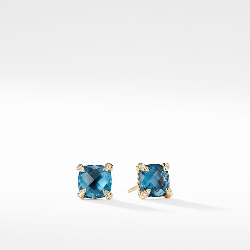 Earrings with Hampton Blue Topaz in 18K Gold