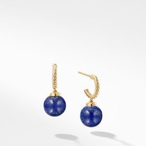 Hoop Earring with Lapis Lazuli in 18K Gold