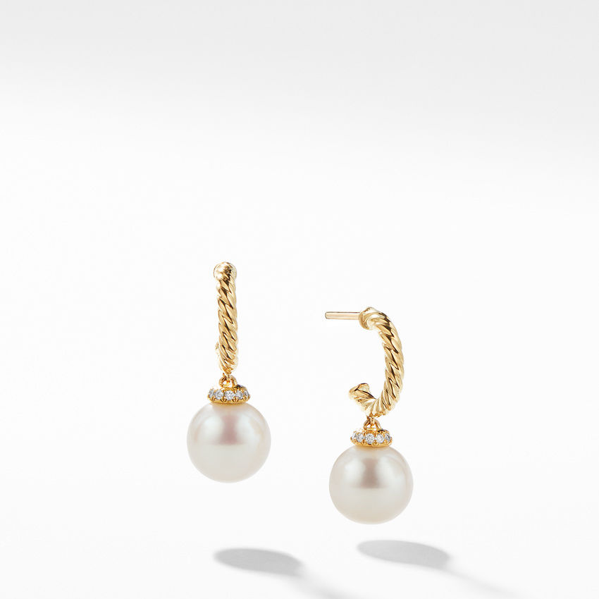 Solari Hoop Earrings with Diamonds and Pearls in 18K Gold