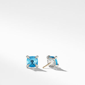 Chatelaine® Stud Earrings with Blue Topaz and Diamonds mm alternative image