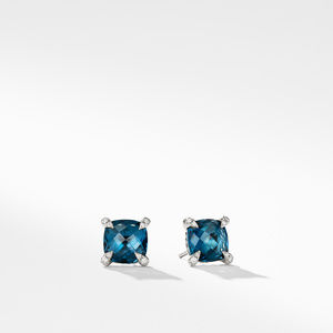 Earrings with Hampton Blue Topaz and Diamonds