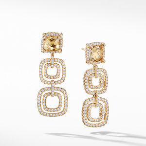 Chatelaine Pave Bezel Triple Drop Earring with Champagne Citrine and Diamonds in 18K Gold