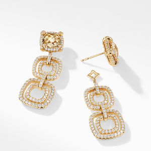 Chatelaine Pave Bezel Triple Drop Earring with Champagne Citrine and Diamonds in 18K Gold alternative image