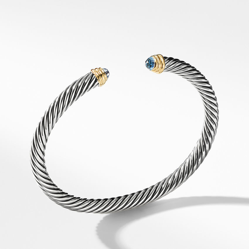 Cable Classics Collection® Bracelet with Blue Topaz and 14K Gold