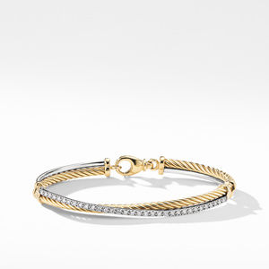 The Crossover Collection® Bracelet with Diamonds in 18K Gold and 18K White Gold
