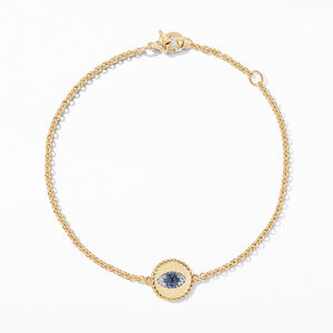 Pave Cable Evil Eye Charm with Blue Sapphire, Diamonds and Black Diamonds in Gold alternative image